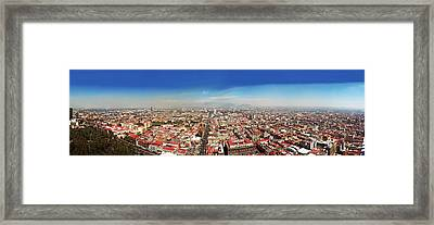 Aerial View Of Cityscape, Mexico City Framed Print