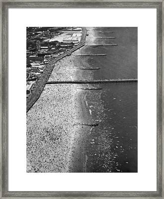 Aerial View Of Coney Island Framed Print by Underwood Archives