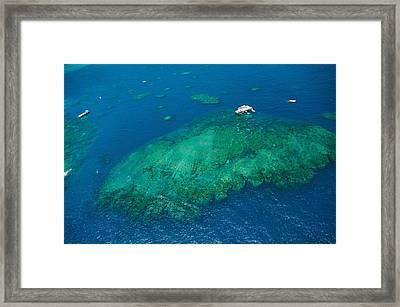 Aerial View Of Coral Reef Framed Print