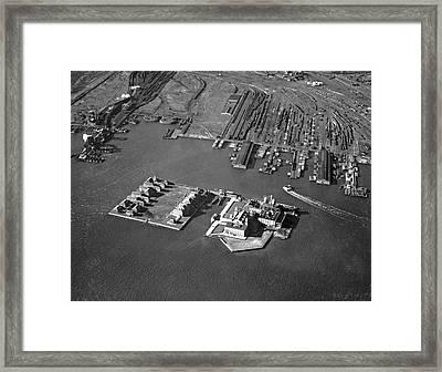 Aerial View Of Ellis Island Framed Print