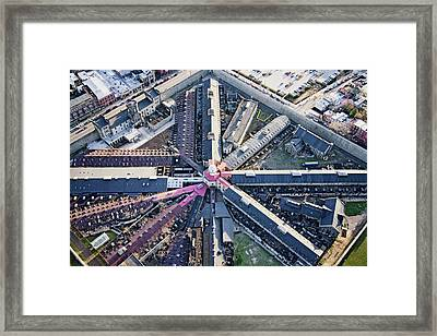 Aerial View Of Factory Triangular Framed Print
