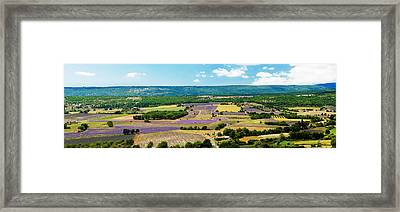 Aerial View Of Fields Framed Print