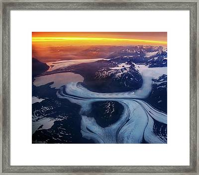 Aerial View Of Glacier Framed Print by Piriya Photography