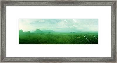 Aerial View Of Green Misty Landscape Framed Print