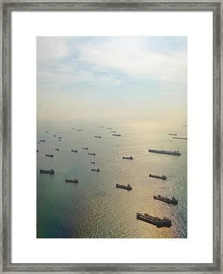 Aerial View Of Industrial Ships Framed Print by Rachel Abygail / Eyeem