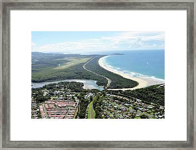 Aerial View Of Landscape By Sea Against Framed Print by Louis Allen / Eyeem