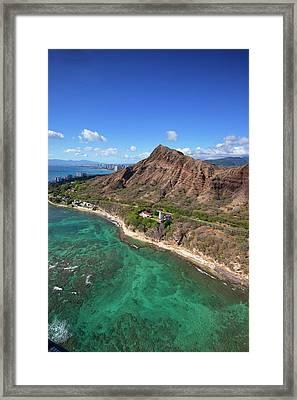Aerial View Of Lighthouse, Diamond Framed Print by Douglas Peebles