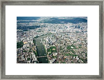 Aerial View Of London, River Thames Framed Print by Urbancow