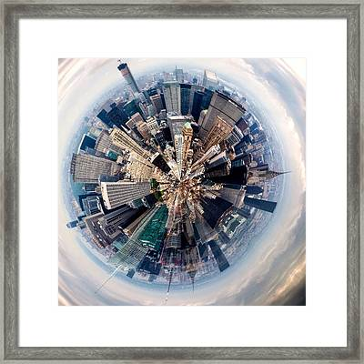 Aerial View Of Modern City Framed Print by John Mcintosh / Eyeem