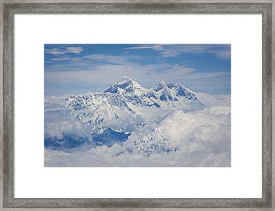 Aerial View Of Mount Everest Framed Print by Hitendra SINKAR