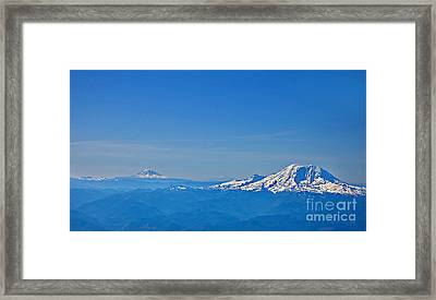 Aerial View Of Mount Rainier Volcano Art Prints Framed Print