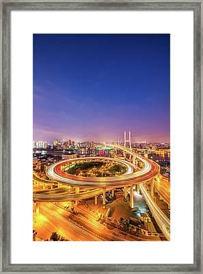 Aerial View Of Nanpu Bridge Framed Print by Fei Yang