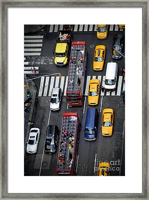 Aerial View Of New York City Traffic Framed Print