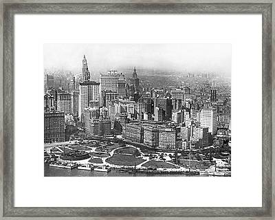 Aerial View Of Nyc Battery Framed Print by Underwood Archives