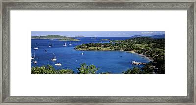 Aerial View Of Sailboats In The Sea Framed Print by Panoramic Images