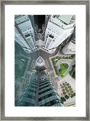 Aerial View Of Singaores Financial Framed Print by Andrew Tb Tan