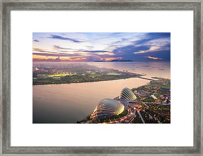 Aerial View Of Singapore With Sunset Framed Print by Loveguli