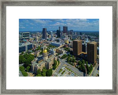 Aerial View Of Skyline And Georgia Framed Print
