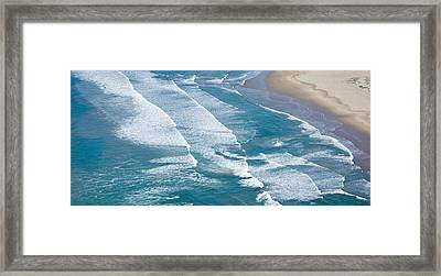 Aerial View Of Surf On The Beach, Pismo Framed Print