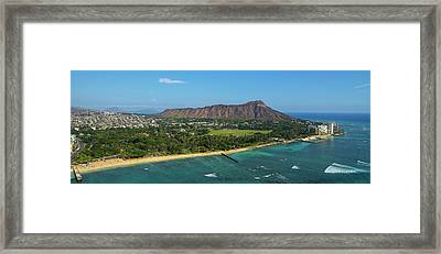 Aerial View Of The Diamond Head Framed Print by Panoramic Images