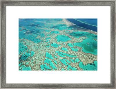 Aerial View Of The Great Barrier Reef Framed Print by Peter Adams