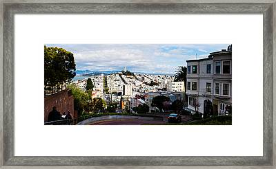 Aerial View Of The Lombard Street, Coit Framed Print