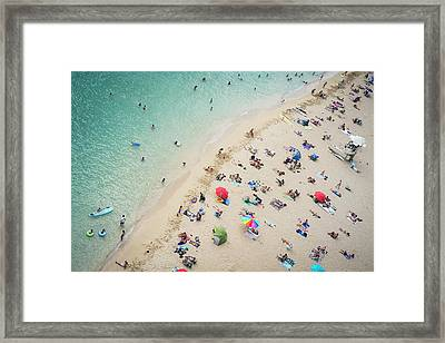 Aerial View Of Tourists On Beach Framed Print