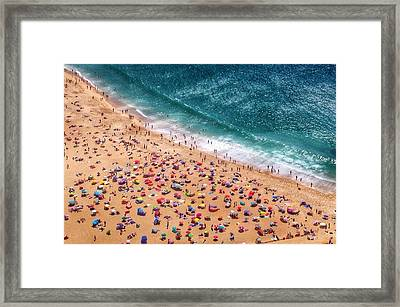 Aerial View Of Tourists On Beach Framed Print by Dario Cingolani / Eyeem