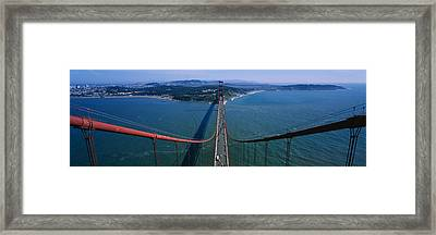 Aerial View Of Traffic On A Bridge Framed Print
