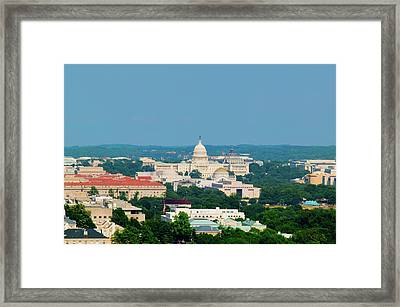 Aerial View Of Us Capitol From Rosslyn Framed Print