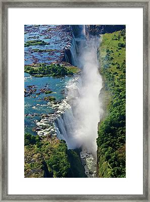 Aerial View Of Victoria Falls Framed Print by Miva Stock