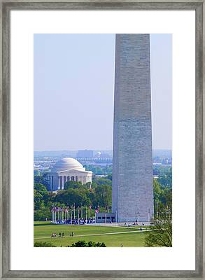 Aerial View Of Washington Monument Framed Print