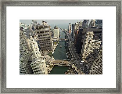 Aerial Chicago Skyscrapers Framed Print by Linda Matlow