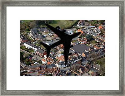 Aeroplane Shadow Over Houses Framed Print by Victor De Schwanberg