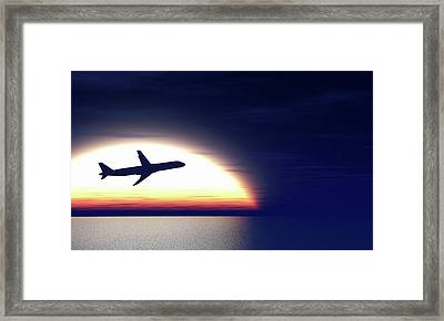 Aeroplane Taking Off At Sunset Framed Print by Wladimir Bulgar
