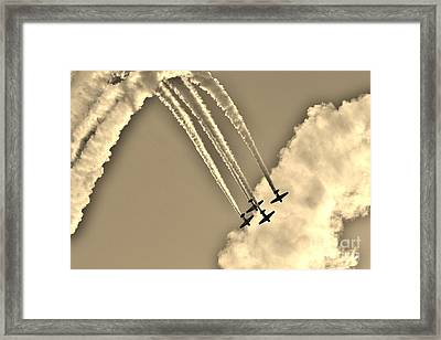 Aeroshell Aerobatic Team In Sepia  Framed Print