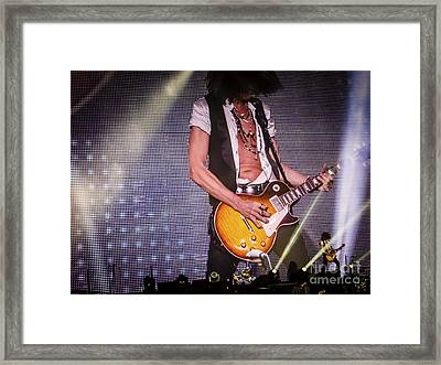 Aerosmith Joe Perry Playing Guitar  In Concert Framed Print by Jani Bryson