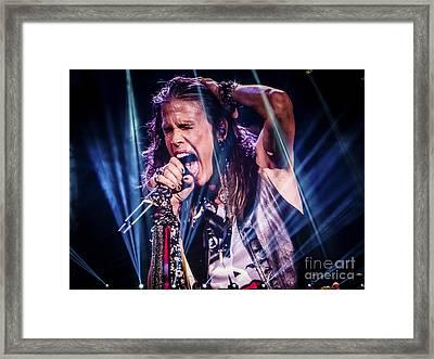 Aerosmith Steven Tyler Singing In Concert Framed Print by Jani Bryson