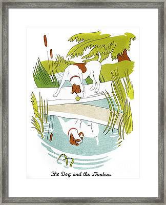 Aesop: Dog & Shadow Framed Print by Granger