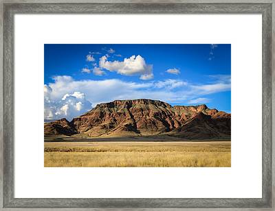 Aferican Grass And Mountain In Sossusvlei Framed Print