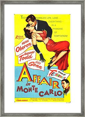 Affair In Monte Carlo, Aka 24 Hours Of Framed Print by Everett
