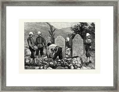 Afghanistan, Putting Tablets Over The Graves Of Those Who Framed Print