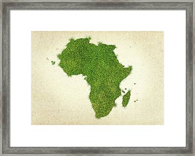 Africa Grass Map Framed Print by Aged Pixel