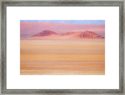 Africa, Namibia Heat Distorts Grassy Framed Print by Jaynes Gallery