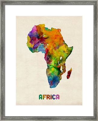 Africa Watercolor Map Framed Print by Michael Tompsett