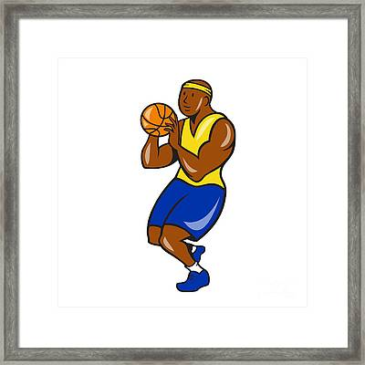 African-american Basketball Player Shoot Ball Cartoon  Framed Print by Aloysius Patrimonio
