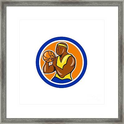 African-american Basketball Player Shooting Cartoon Circle Framed Print