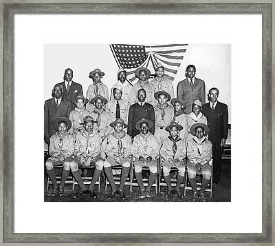 African American Boy Scouts Framed Print by Underwood Archives