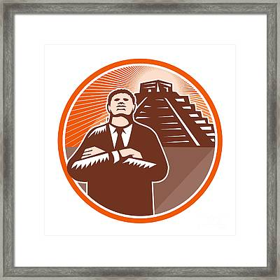 African American Businessman Protect Pyramid Framed Print by Aloysius Patrimonio