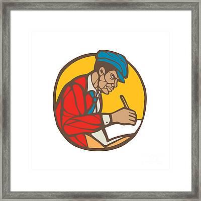 African-american Writer Journalist Woodcut Linocut Framed Print by Aloysius Patrimonio